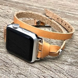 Slim Tan Leather Strap Silver Apple Watch Band